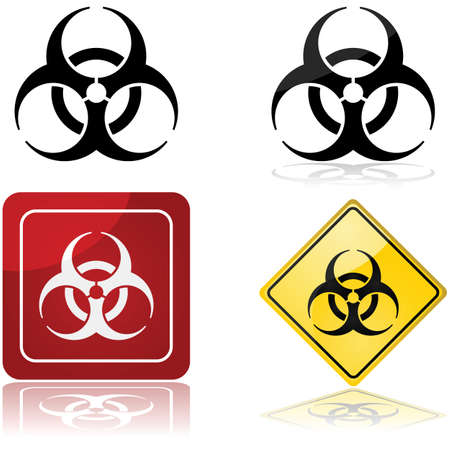 biological warfare: Icon set showing a biohazard sign in four different styles Illustration