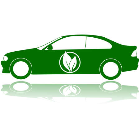 Concept illustration showing a green car with a couple of leafs on its door Stock Vector - 17112006