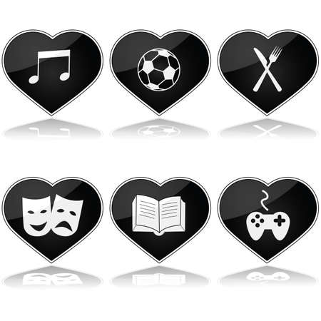 Concept illustration showing a set of hearts with different hobby interests inside them Vector