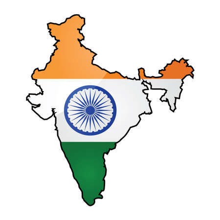 overlapped: Glossy illustration showing the flag of India overlapped on top of the countrys map