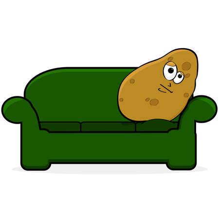 Ilustración de dibujos animados que muestra una patata con aire aburrido y acostado en un sofá