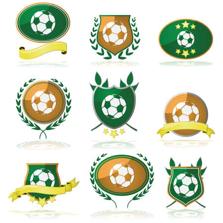futbol soccer dibujos: Conjunto de insignias y sellos con un bal�n de f�tbol en el interior Vectores