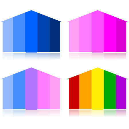 depending: Concept illustration showing houses with different tones, depending on occupants: male or female, heterosexual or homosexual relationships Illustration