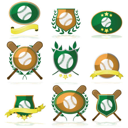 Set of shields and badges showing a baseball and other elements Vector
