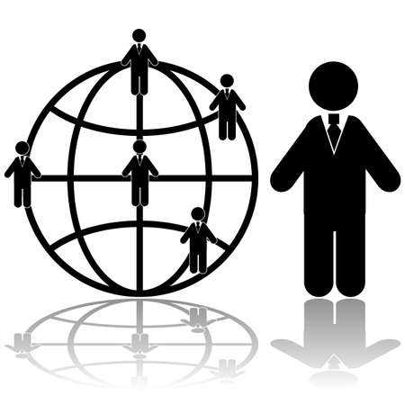Concept illustration showing a businessman with connections around the globe Stock Vector - 17690627