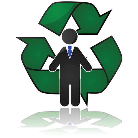 Concept illustration showing a businessman in front of a recycling sign, showing a need to recycle his knowledge to remain competitive Stock Vector - 17690628