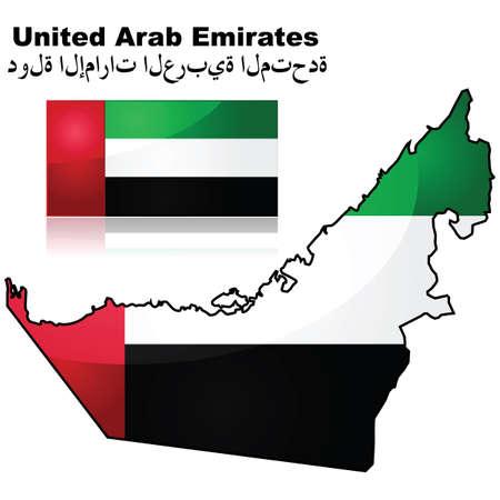 아랍 에미리트 (UAE)지도 및 깃발 일러스트