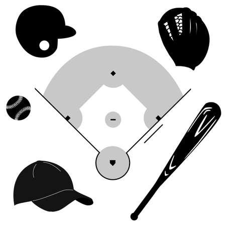 guante de beisbol: Icono de conjunto que muestra los diferentes elementos del b�isbol alrededor de un campo de b�isbol
