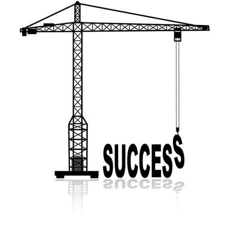 bouwkraan: Concept illustratie toont een constructie kraan bouwen van het woord succes Stock Illustratie