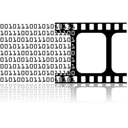 ones: Icon illustration showing a series of ones and zeros being converted into a film strip