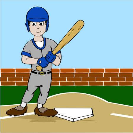 Cartoon illustration showing a baseball player holding a bat near homeplate Illustration