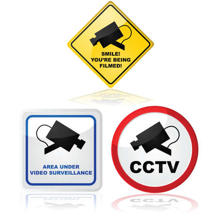 Signs showing that a video camera is in use in the place where the sign is located Vectores