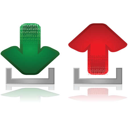 Set with two arrows, one green for downloads and one red for uploads