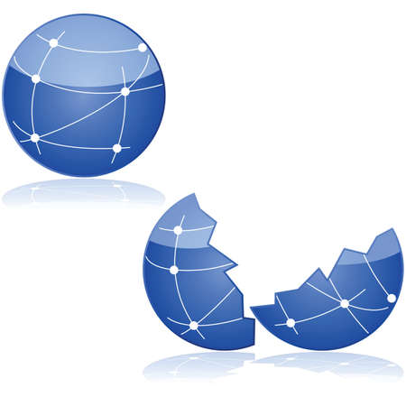 connectivity: Concept illustration showing one globe with connections between dots to symbolize a network and the same globe broke in half. Illustration