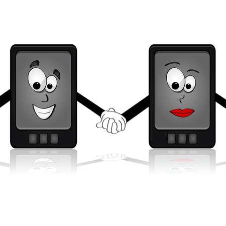 Cartoon illustration showing two smartphones holding hands Illusztráció