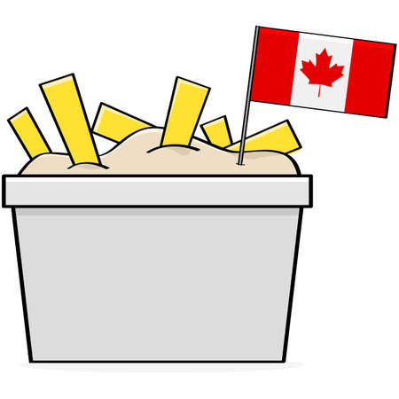 Cartoon illustration showing a bowl of the traditional Canadian food called poutine, made of cheese, fries and gravy