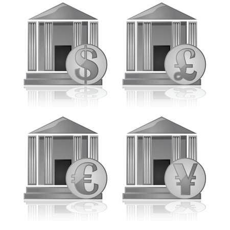 Illustration showing a bank icon with different currency symbols in front of it Stock Vector - 18004981