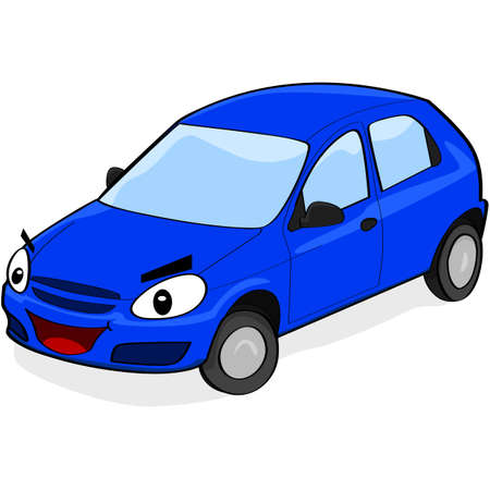 Cartoon illustration showing a car with a face smiling Vector