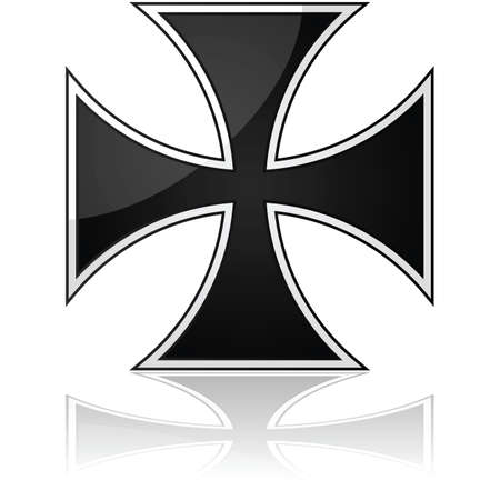 cruz religiosa: Ilustraci�n brillante que muestra un s�mbolo de la cruz de hierro se refleja sobre una superficie blanca