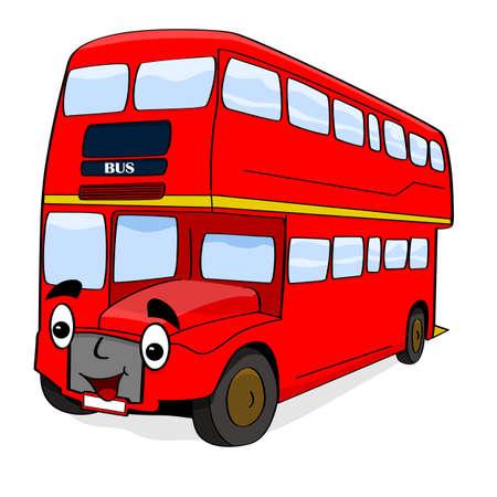 幸せな 2 階建てロンドンの赤バスを示す漫画図
