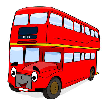 double decker bus: Cartoon illustration showing a happy double-decker London red bus