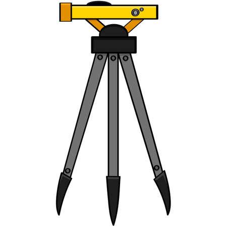 mensuration: Illustration de bande dessin�e d'un outil d'arpentage normalement utilis� par les ing�nieurs