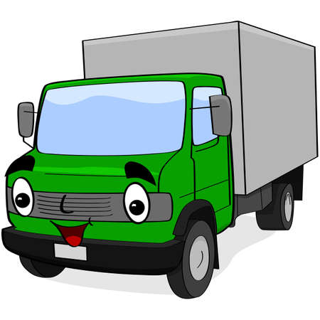 Cartoon illustration showing a happy green truck Stock Vector - 18004961