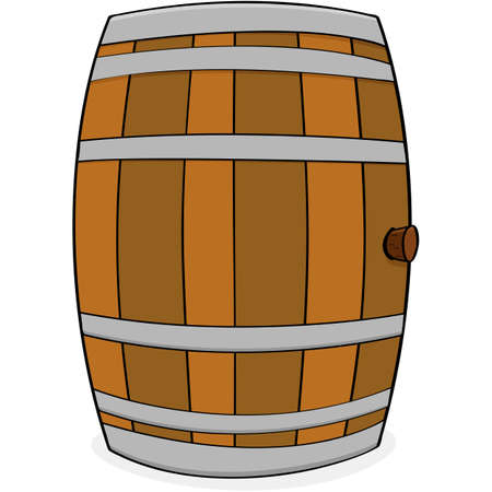 Cartoon illustration showing a wooden barrel with a cork on its side