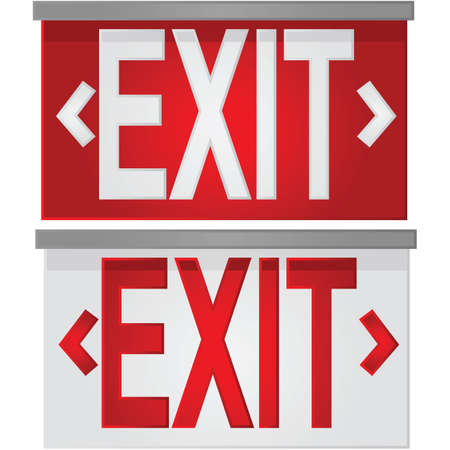 salida de emergencia: Ilustración brillante que muestra una señal de salida de blanco sobre rojo, y un letrero de salida rojo sobre blanco
