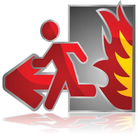 burn out: Glanzende illustratie van een nooduitgang bord met een man die loopt van een open vlam Stock Illustratie
