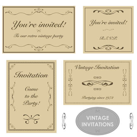 Set with four different vintage invitations printed on brown paper Иллюстрация