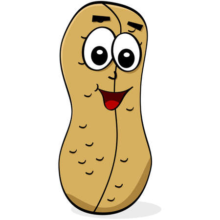 Cartoon illustration of a peanut with a happy face