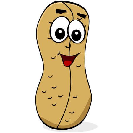 Cartoon Illustration von einer Erdnuss mit einem glücklichen Gesicht Standard-Bild - 18050528