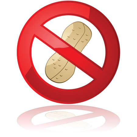 ピーナッツ フリー製品や環境のための禁止標識内部のピーナッツを示す図  イラスト・ベクター素材