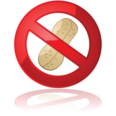 cacahuate: Ilustración que muestra un cacahuete en el interior de una señal de prohibido, para los productos de maní o ambientes libres