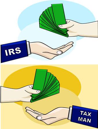 Cartoon ilustracji pokazano przekazanie osoby nad pieniędzy do Urzędu Skarbowego lub człowieka podatkowego
