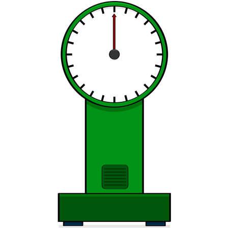 gram: Cartoon illustration showing a vintage style analog scale