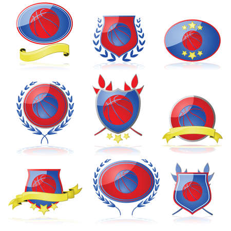 Set of shields and badges showing a basketball Stock Vector - 21491024