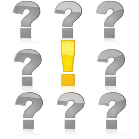 contrast resolution: Concept illustration showing yellow exclamation mark among gray question marks