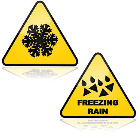 Traffic signs showing warnings for snow and freezing rain Stock Vector - 21491045