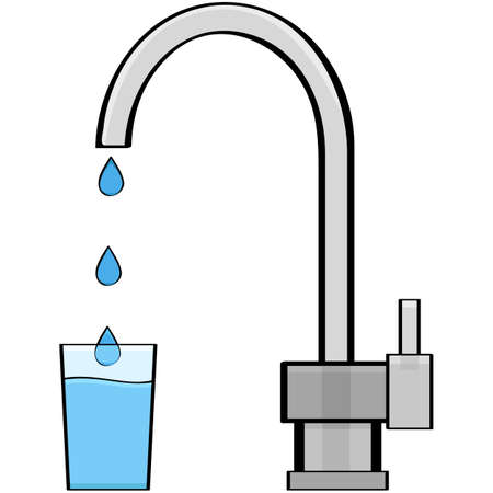 Cartoon illustration showing water coming out of a tap and into a glass Çizim