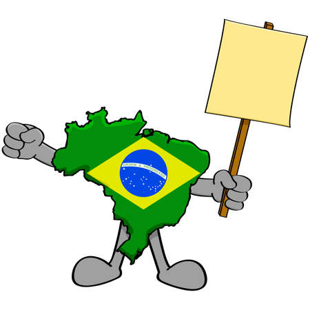 complain: Concept illustration showing a map of Brazil holding a protest sign