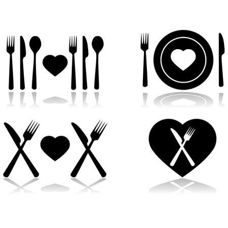 dinner date: Set di illustrazione che mostra quattro diverse icone che simboleggiano un appuntamento a cena Vettoriali
