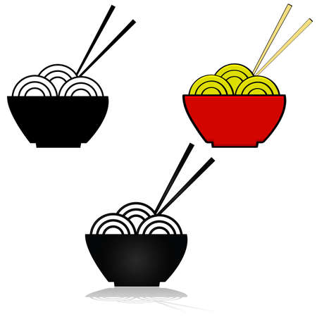 Illustration set showing three variations of an icon for a bowl of noodles