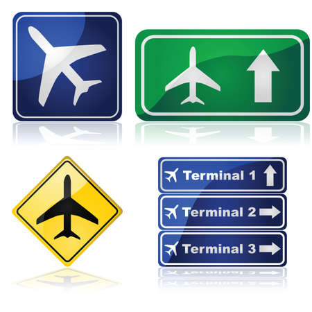 Illustration set showing different traffic signs for airports