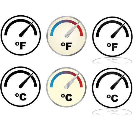 temperature: Illustration set showing icons for temperature displays in Fahrenheit and Celsius Illustration