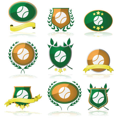 Set of shields and badges showing a tennis ball Stock Vector - 21491056