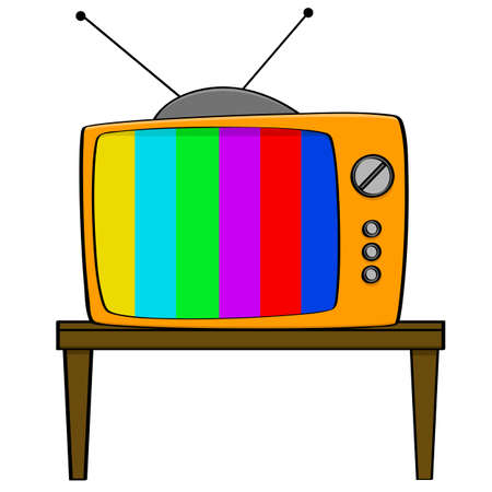 Cartoon illustration showing a vintage style television set displaying color bars