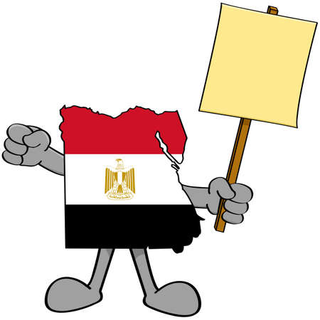 complain: Concept illustration showing a map of Egypt holding a protest sign