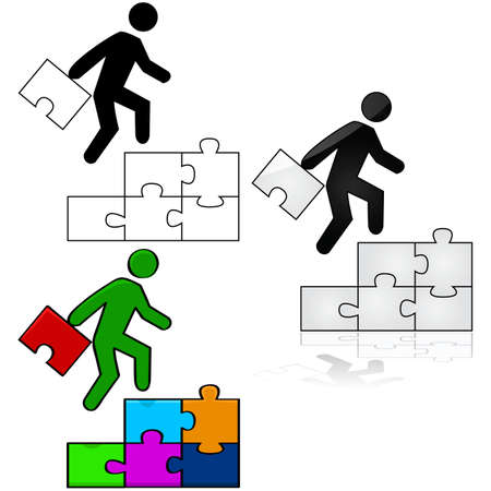 Concept illustration showing a man climbing a stair made out of puzzle pieces, while carrying the final piece to complete the puzzle